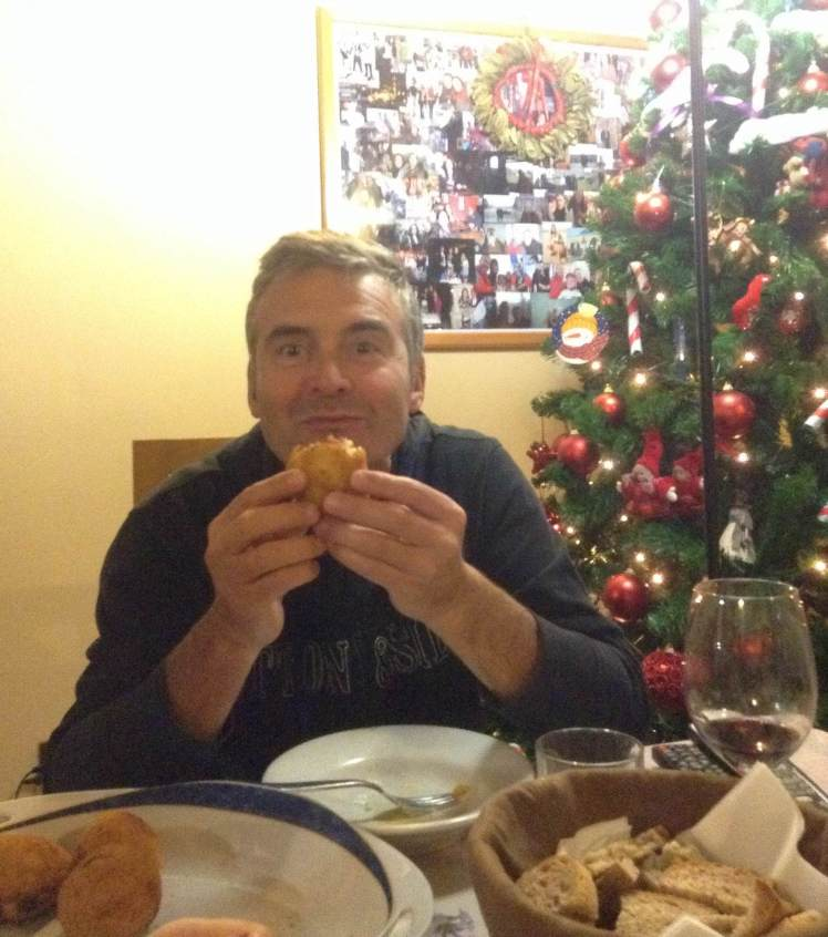 Bruno enjoying the Arancini