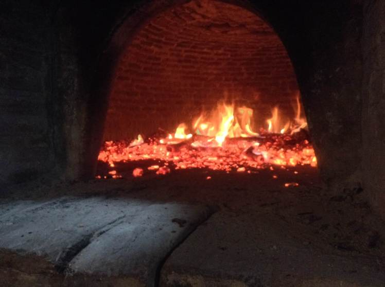 The wood fired oven after a few hours