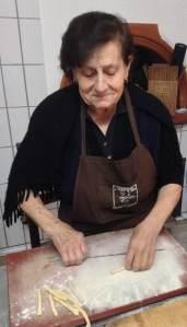 Nonna Sofia preparing pasta for lunch