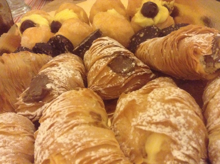 Typical sweets from the pasticceria, filled with creamy custard or chocolate