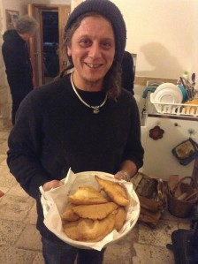 Tristano with freshly made Panzerotti