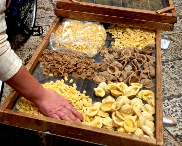Fresh handmade orecchiette pasta, for sale from the signoras in the streets of Bari old town