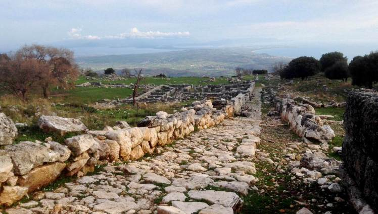 An road from the ancient city leads down to the plateaux, where you can look out to Actium below