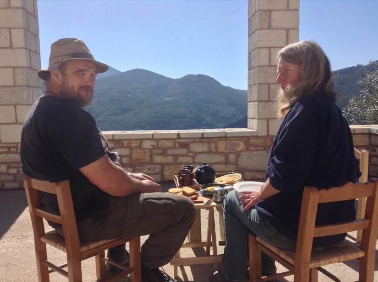 Peter and Stella on the terrace with Breakfast - I was a very happy traveller!