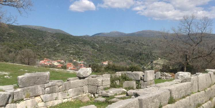 The stones of the Temple of Athena of the village of Figalia which sits on the side of the mountain.
