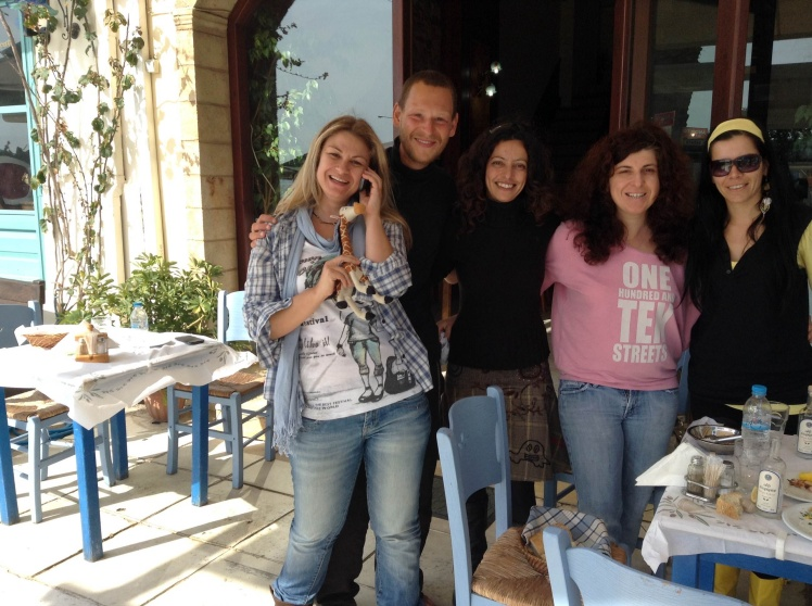 Me and Ithomi making new friends in Neapolis, where we stayed for a few nights, hosted by the lovely Cat (left of the photo, holding Ithomi)