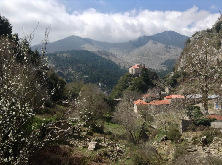 The imperious Taygetos mountains frame a tiny abandoned mountain village