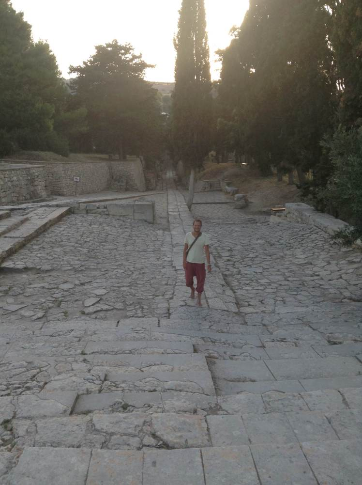 Walking on one of the oldest roads in Greece. This is the royal road of Knossos