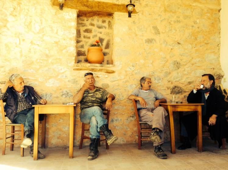 Greek men in a local Kafeneio