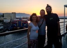 on the ferry leaving Crete, with Miron, Georgia