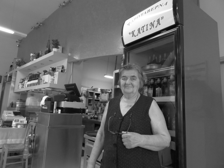 Katina, the friendly owner of the taverna. She's been making delicious food here for more than 40 years.