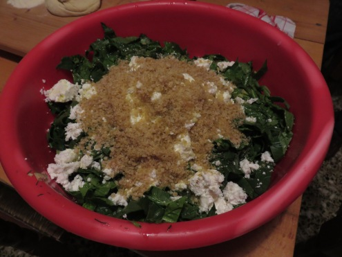 Fresh greens, chopped onions, leeks and spring onions, feta cheese and bulghur make up this delicious filling