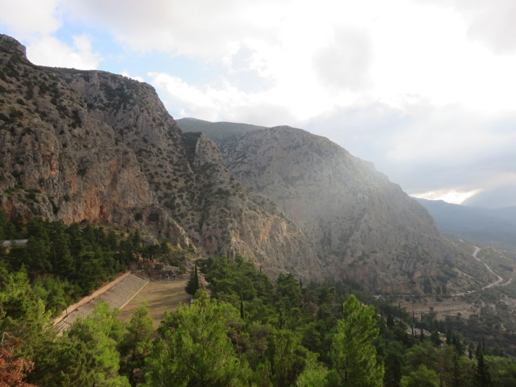 The view of Delphi as I climbed up the E4