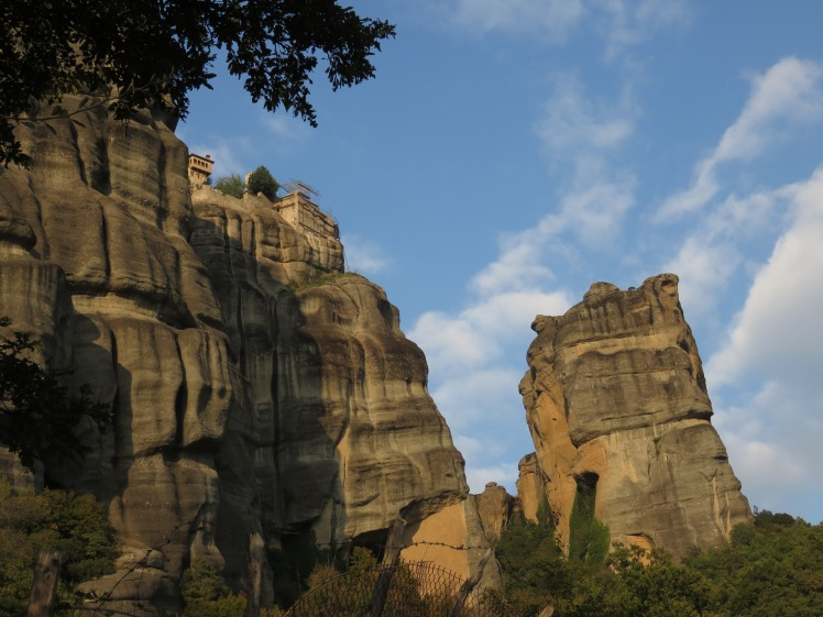 one of the meteora monasteries and the fantastic rock formations
