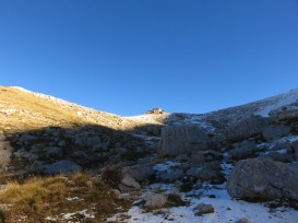The mountain refuge sits at the top of the mountain at 1950m