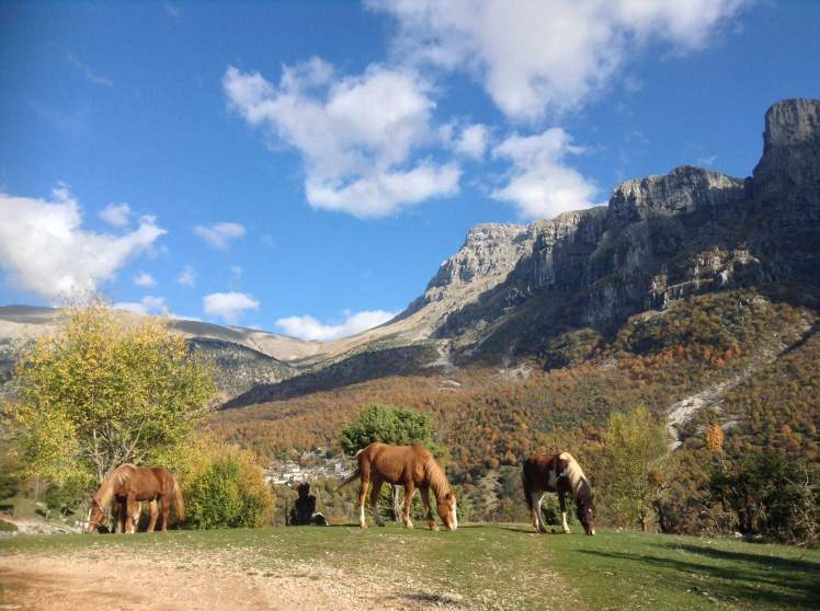 """The horses graze on the mountainside, under the gaze of the """"towers of Papigo"""""""