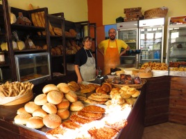 Kostas and his mother Vasiliki inside the bakery