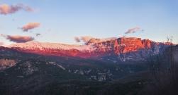 Sunset illuminates the mountains