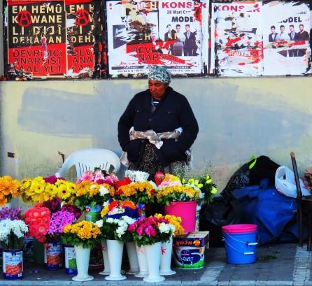 a flower seller on the Asian side