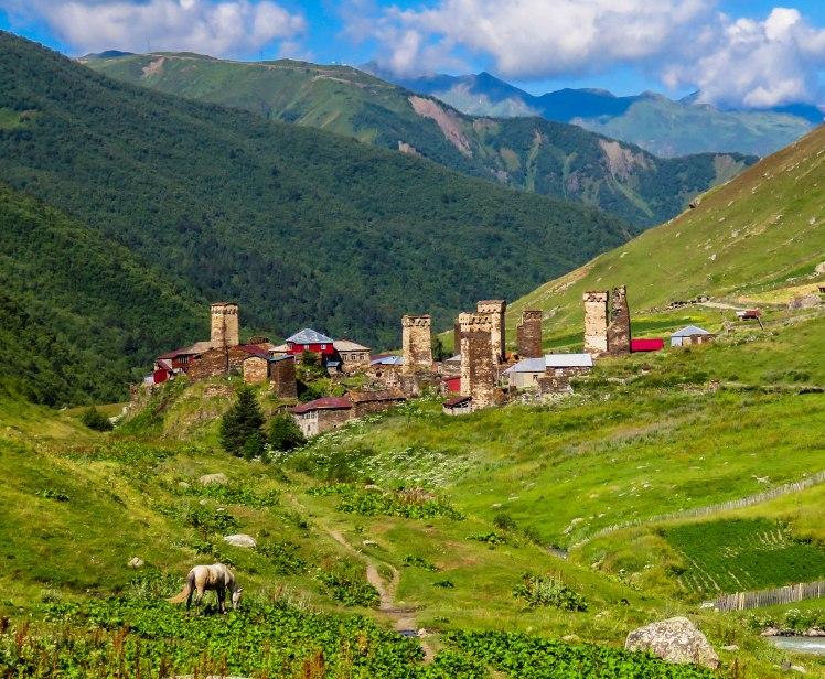 Svan towers in Svaneti, Caucasus mountians, summer 2015