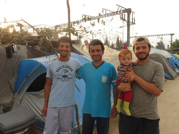 My friend Salah (left) with his two brothers in Idomeni